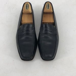 Tods black square toe driving loafers shoe